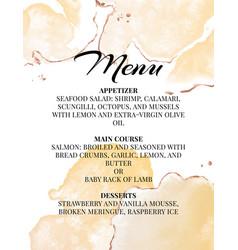 Hend-drawn wedding menu template beautiful tender vector