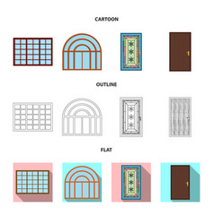 Isolated object of door and front icon collection vector