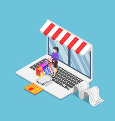isometric business woman with cart shopping on vector image
