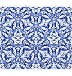Kaleidoscope blue star flower pattern vector