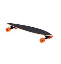 Longboard with orange wheels vector