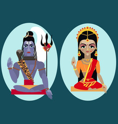 Lord shiva and mata parvati vector