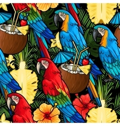 Macaw and tropical cocktail seamless vector