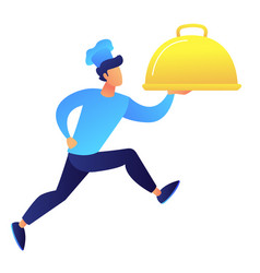 male chef holding dish and running vector image