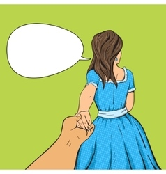 Man follows the girl and holding her hand vector image