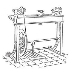 Mechanic lathe vintage vector