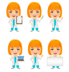 medical doctor woman set funny cartoon character vector image