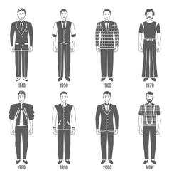 Men Fashion Black White Evolution Icons Set vector