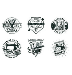 Monochrome vintage tailor shop logos set vector