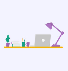 office with necessities a laptop on a table vector image