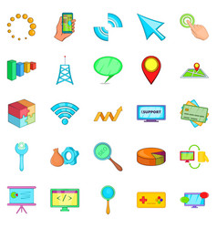 Online store icons set cartoon style vector