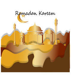 paper cut moslem fasting month greetings vector image
