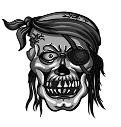 Pirate skull in bandanna without one eye vector