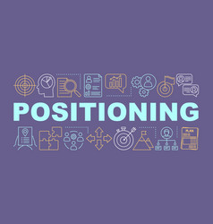 Positioning purple word concepts banner pinned vector
