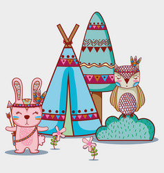 Rabbit and owl tribal animal in the forest vector
