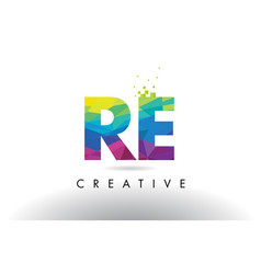 Re r e colorful letter origami triangles design vector