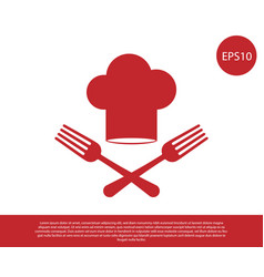 Red chef hat and crossed fork icon isolated on vector
