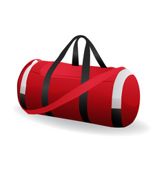 Red sport bag for sportswear and equipment icon vector