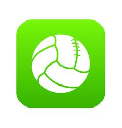 Retro volleyball icon green vector