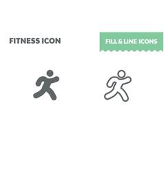 run icon fill and line flat design ui vector image