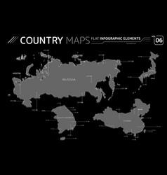 russia japan china and south korea maps vector image