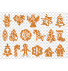 set gingerbread christmas cookies vector image