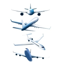 Set of airplanes in different foreshortening vector image