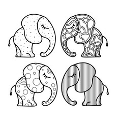 Set of cute little elephant with ornaments hand vector