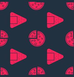 Set onigiri and pizza on seamless pattern vector