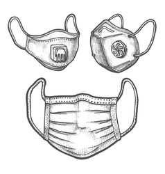 Set surgical mask and face respirator sketch vector