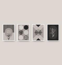 Set wall art minimal poster vector