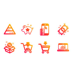 Shopping loyalty points and pyramid chart icons vector