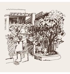 sketch drawing of Slovenska Plaza hotel street in vector image
