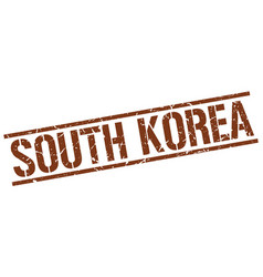 South korea brown square stamp vector