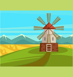spectacular rural landscape with mill and vector image
