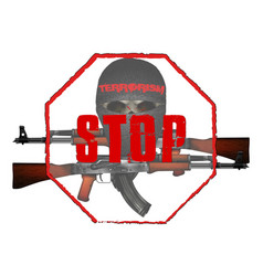 Stop terrorism skull mask with kalashnikov assault vector