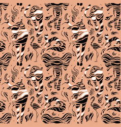 Stylized wild animals hand drawn seamless pattern vector