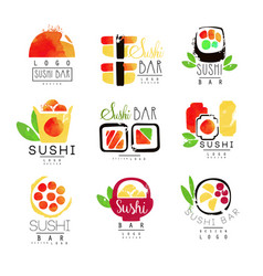 Sushi bar logo template set colorful watercolor vector