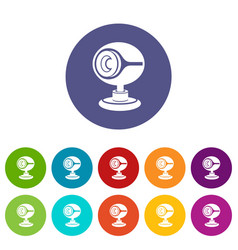 web camera icons set color vector image