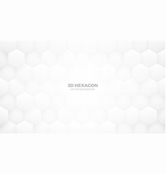 white 3d hexagon pattern abstract background vector image