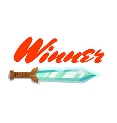 winner game element with sword vector image