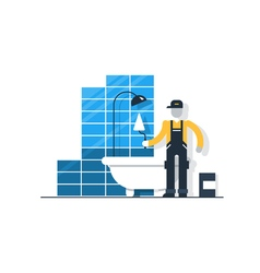 Worker with spatula in bathroom puting tiles home vector image