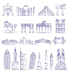 World landmarks outline icons abstract set vector image