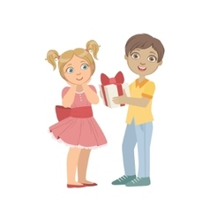 Boy Giving A Present To Girl With Ponytails vector image