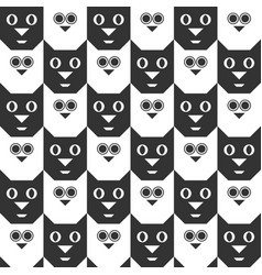 cat and owl seamless geometric pattern vector image