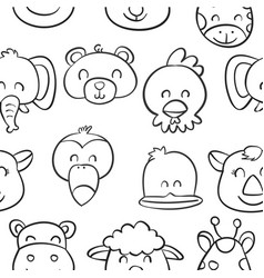 collection cute animal doodle style vector image