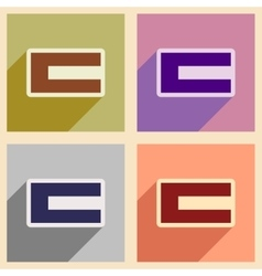 Concept flat icons with long shadow flag arab vector