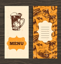 Menu for restaurant cafe bar Oktoberfest vintage vector image