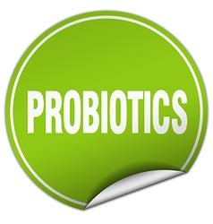 Probiotics round green sticker isolated on white vector