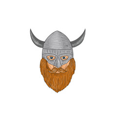 viking warrior head drawing vector image vector image